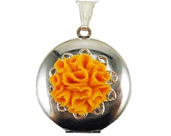 Orange Marigold Locket Necklace - Marigold Jewelry, October Birthday Birth Flower