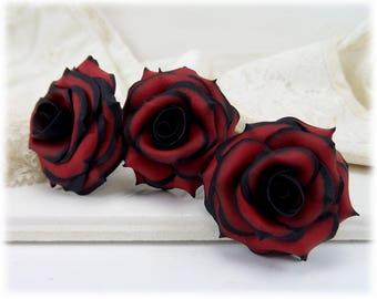 Black Tip Red Rose Hair Pins - Gothic Flower Hair Accessories