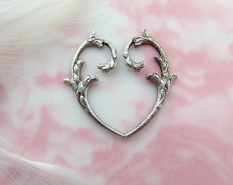 ANTIQUE SILVER (2 Pieces) Open Heart Branch Stampings - Jewelry Findings (E-543)
