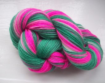 Sock yarn hand painted wool, bright pink, emerald green 100g