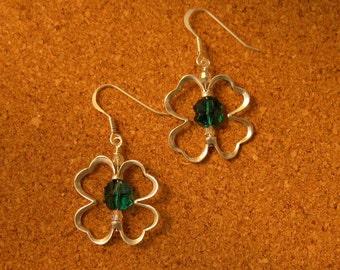 St. Patricks Day Earrings - Swarovski Crystal Clover Earrings - Four Leaf Clover Earrings - Shamrock Earrings - St. Patricks Day Jewelry