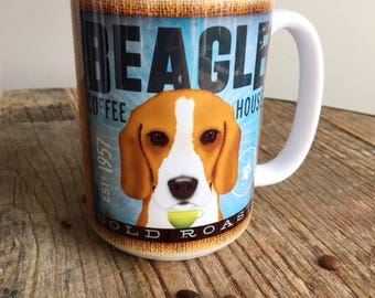 Beagle dog coffee mug graphic art MUG 15 oz  OR 11 oz ceramic coffee mug READ details 15 oz mug pictured