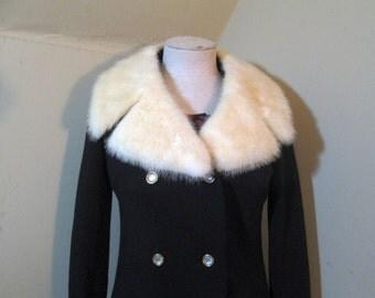 60s Black Knit Jacket vintage White Mink Fur collar Double Breasted vintage Knit Jacket Vintage 60s Jacket Mod Mini Coat White Fur Collar M