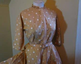 Polka Dot Vintage 50s Dress Lucy style dress 50s shirtwaist dress caramel brown Circle Skirt dress white dots vintage Dress 50s full skirt M