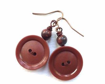 Spring Sale Rich Brown Vintage Button Dangle Earrings