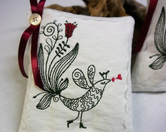 Kissing Bird-  Linen Lavender Sachet -  Olive Green & Red Embroidery