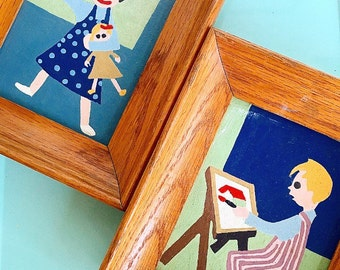 Babes in Toyland... Handmade Pair of Vintage Toyland Paradise Paint by Numbers Framed Painting Artwork Little Girl and Little Boy Nursery