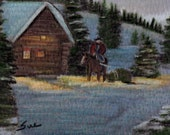 original art drawing color pencil aceo Christmas cowboy bringing home the tree cabin