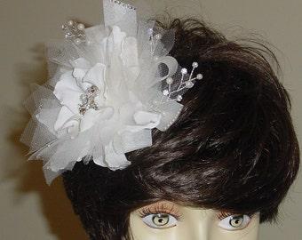 Silk Flower Wedding Fascinator Hair Clip Bridal Headpiece