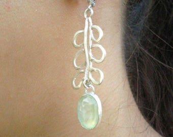 Silver Prehnite Earrings, Green Stone Earrings, Long Earrings Dangle, Long Drop Earrings, Green Gemstone Drops,  Wedding Green Dangles