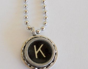 SALE Recycled Jewelry Graduation Gift Author Books Antiques Journalist Typist Typewriter Key Necklace Vintage Initial All Letters Available