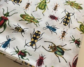 Nature Inspired Bug fabric, Entomology, Bugs, Insect Study in WHITE, Nature Study, Biology, Science fabric, Robert Kaufman- Choose the cut