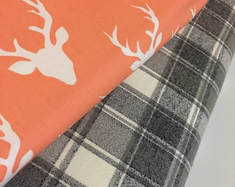 Coral Buck Bundle, Plaid Flannel fabric, Hello Bear, Buck Forest Coral, Mammoth Flannel- Fabric Bundle of 2, Choose The Cuts