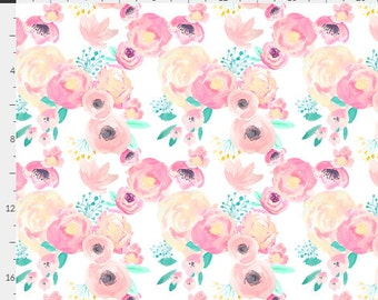 WaterColor Floral Roses Pink Blush & Mint Teal Baby Nursery Crib Bedding Set CHOOSE and CUSTOMIZE