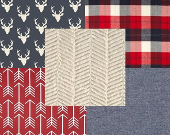 Rustic Plaid Deer Woodland Arrows Navy Blue Red and Cream Baby Nursery Crib Bedding Set CHOOSE and CUSTOMIZE