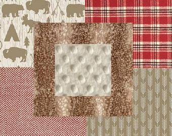 Rustic Plaid Buffalo Bear Deer Hide Woodland Arrows Red Tan Beige and Cream Baby Nursery Crib Bedding Set CHOOSE and CUSTOMIZE