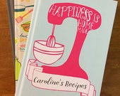recipe book blank, personalized recipe book, bridal shower recipe