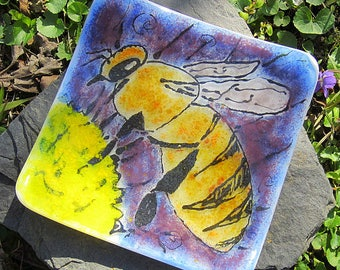 Square fused glass honey bee dish small plate hand painted original art