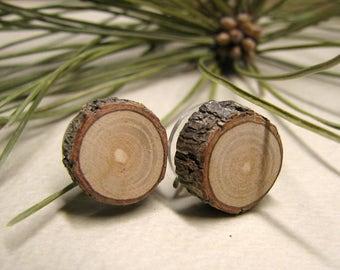 Fine Pine Rustic Twig Wooden Stud Earrings by Tanja Sova