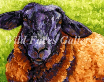 Sheep Art, Sheep Print, sheep painting, purple sheep, farm art, country art, nursery art, kids decor, nursery decor, country decor, ewe