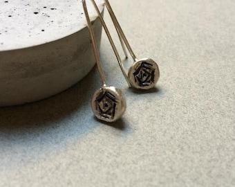 Long Rose Sterling Silver Dangling Earring - Rustic Romantic earring - Silver Earring