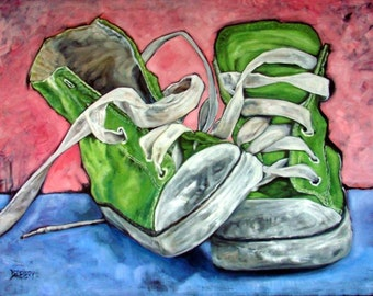 "Original Oil painting on canvas BUBBLEGUM Vintage sneakers 40"" by 50"" part of the SHOE SERIES!"
