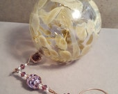 Pixie Fairy Orb / Witch Ball, Hand Blown Glass, Hanging Ornament, Purple Ribbon Cane Bead