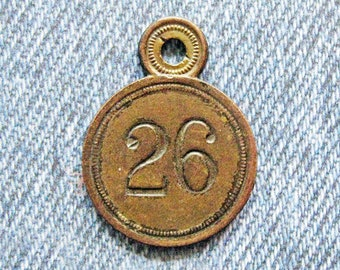 Brass Number Tag Room 26 Skeleton Key Fob Antique Retro Motel Hotel Industrial Metal Painted Numbered Id Repurpose Hardware