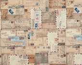 Tim Holtz LETTER Neutral PWTH048 Fabric - Cuts by HALF Yard Increments
