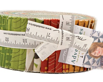 "SALE 40% Off Moda ADVENTURES Jelly Roll 2.5"" Precut Fabric Quilting Cotton Strips Amy Ellis 3530JR"