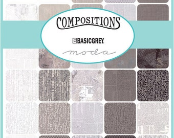 "SQ71 Moda COMPOSITIONS Precut 5"" Charm Pack Fabric Quilting Cotton Squares Basic Grey 30450PP"