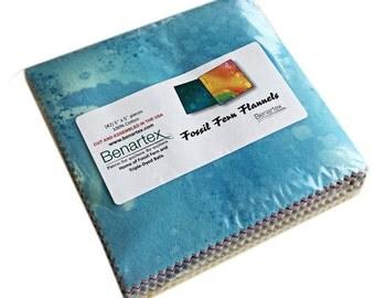 "SQ56 Benartex FOSSIL FERN FLANNELS Precut 5"" Charm Pack Fabric Quilting Cotton Squares"