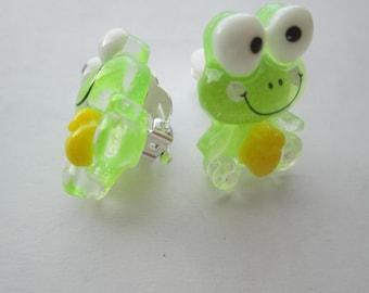 Green Resin Glitter Frog No Pierce Clip On Earrings