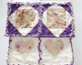 Handmade Rag Quilt ~LOVE Is All You Need~ Purple rag quilt