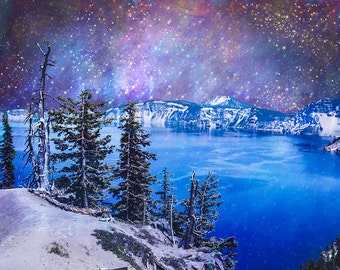Top of the World, Surreal Fine Art Print, Nature Wall Art, Space Photography, Blue Wall Art, Serene Nature, Mountains, Lake, Perfect Nature