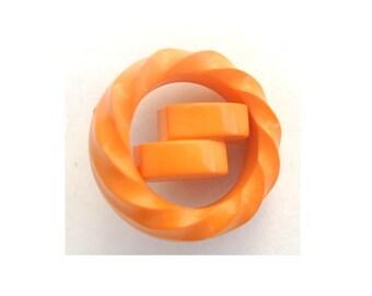 6 Vintage plastic buttons, 25mm, orange, unique shape