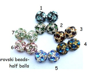 Swarovski beads, antique vintage, 6 beads, half ball shape, crystals in few colors- choose your color