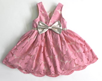 Pink Dusty Rose Lace Dress, Flower Girl, Birthday, Special Occasion