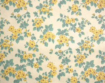 1940s Vintage Wallpaper by the Yard - Vintage Kraft Paper Extra Wide Yellow Wild Rose