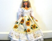 ON SALE Barbie Dress Sunflower Print with White Lace