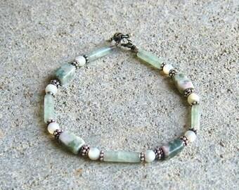 ON SALE Jade and White Gemstone Silver Beaded Bracelet