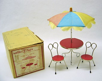1950s Vintage WATKO Doll Furniture - Complete Patio Set with Box - Chrome Plate Table & Chair Frames - Gently Used - NO Rust or Repairs!