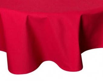 "ROUND Handmade Tablecloth - Diameter 68"" - 170 cm  - SOLID RED"