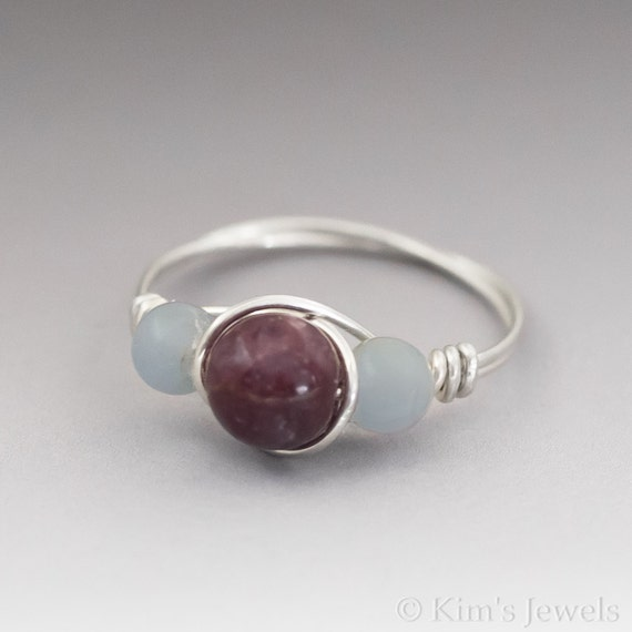Lepidolite & Angelite Sterling Silver Wire Wrapped Bead Ring - Made to Order, Ships Fast!