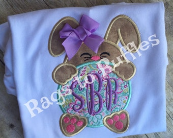 Personalized Easter Bunny Shirt- Monogrammed Easter Shirt- Easter Bunny Applique Shirt