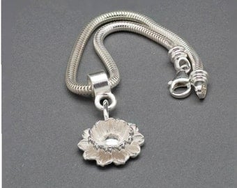 Lotus Charm Bracelet. European Charm Bracelet. Sterling Silver