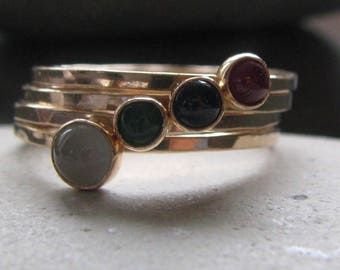 Birthstone, 14k yellow gold mother's stacking ring set