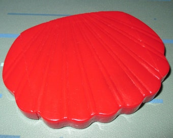 Vintage MOD Red Plastic Clam Shell Shaped Purse Mirror Cosmetic Magnifying