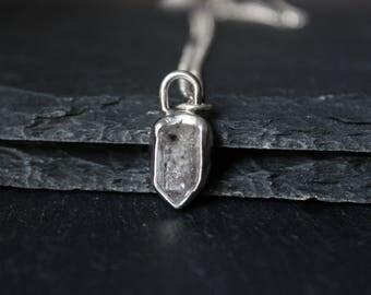 Herkimer Diamond Sterling Silver Necklace #003 | Handmade Bezel Crystal Pendant | Minimalist Boho Bohemian | Gugma Jewelry Women's