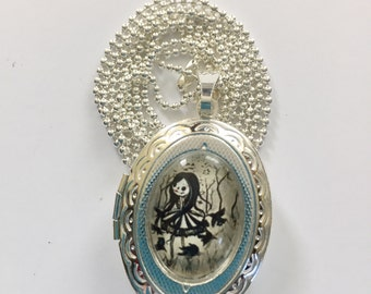 Raven carrousel girl Art Print Pendant Locket Necklace